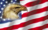Eagle Crying with flag background